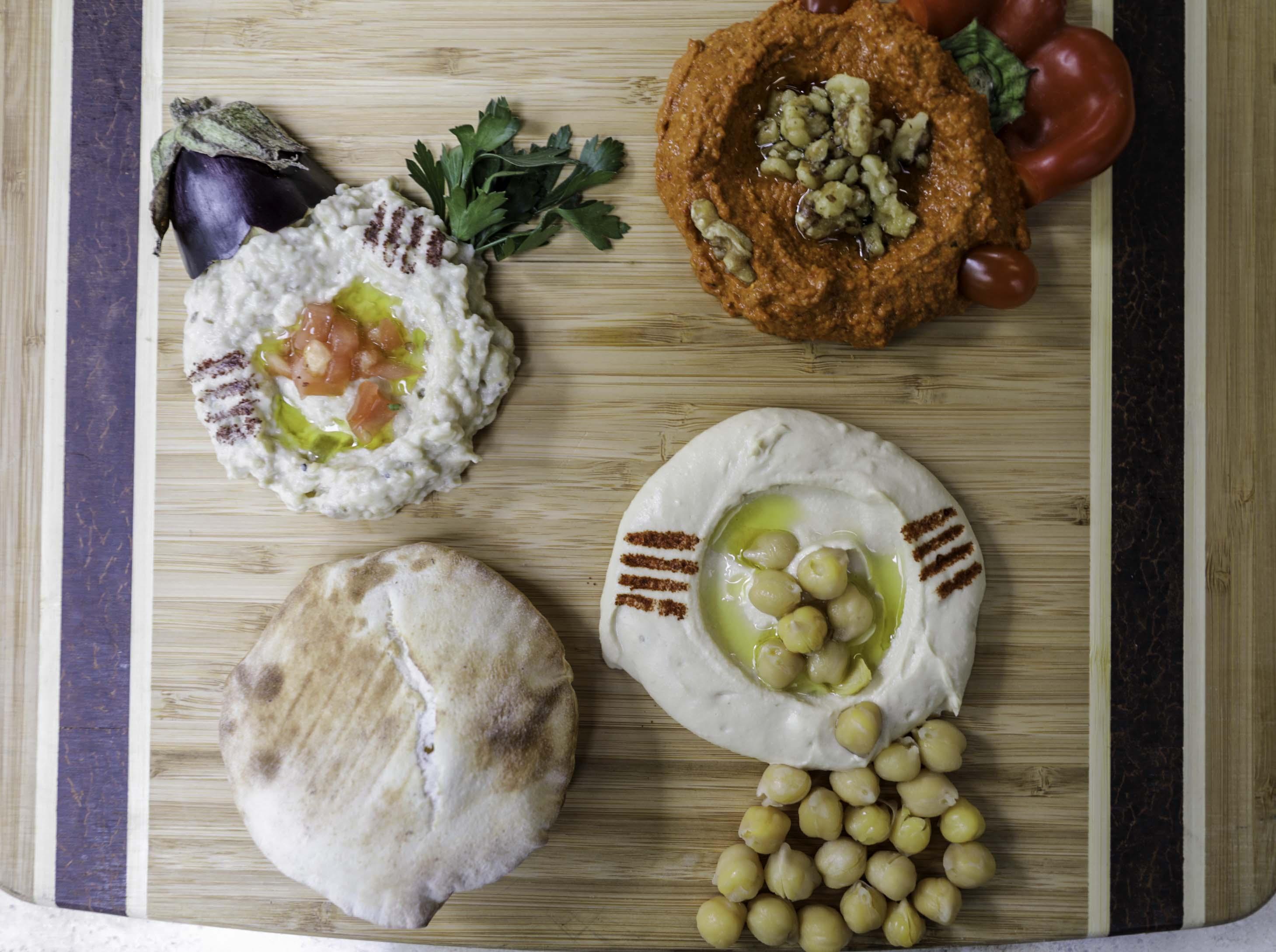 Dip Sampler, with Mhammara, Baba Ghanouj, Hummus (Lebanese Food)